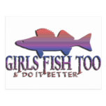 GIRLS FISH TOO WALLEYE POST CARDS