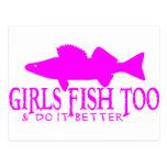 GIRLS FISH TOO WALLEYE POSTCARD
