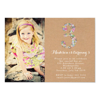 Girls Floral 3rd Birthday Party Invitation