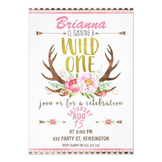 Girls Floral Wild One Birthday Invitation