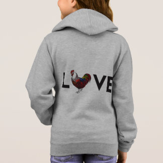 Girls- Fluffy Layers, LOVE Rooster Hoodie ( Girls)