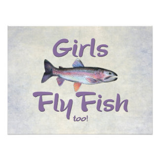 Girls Fly Fish too! Rainbow Trout Fly Fishing Art Photo