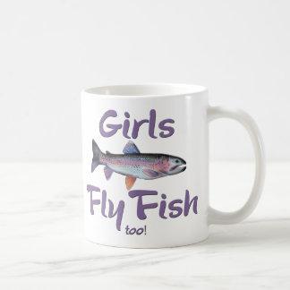 Girls Fly Fish too! Rainbow Trout Fly Fishing Basic White Mug