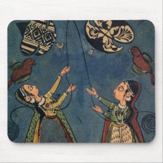 Girls flying kites, Kulu folk painting, Himachal P Mouse Mat