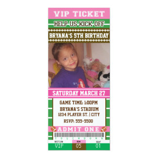 GIRLS FOOTBALL PINK PHOTO TICKET Invitation