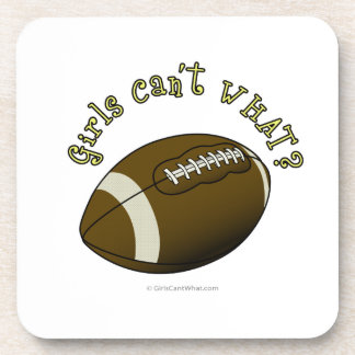 Girls Football - Yellow Text Beverage Coaster