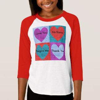 Girls Four Phrases Raglan 3/4 Sleeve T-Shirt