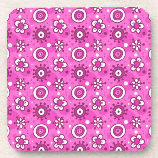 Girl's Fun Cute Pink Flowers & Shapes Pattern Drink Coasters