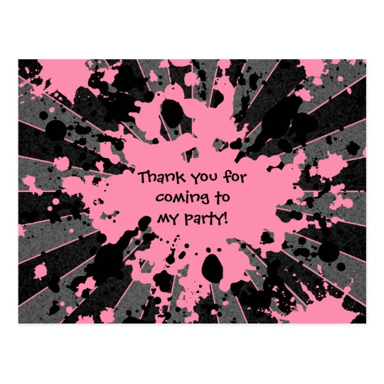Girls funky pink paint splatter paintball birthday postcard