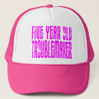 Girls Funny Birthdays  Five Year Old Troublemaker Cap