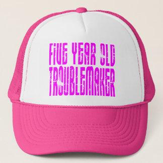 Girls Funny Birthdays  Five Year Old Troublemaker Trucker Hat