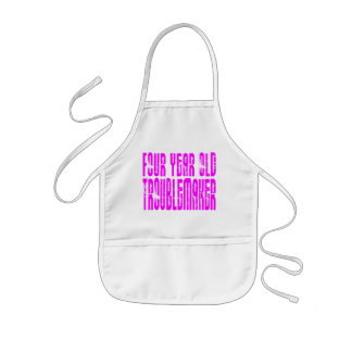 Girls Funny Birthdays  Four Year Old Troublemaker Kids Apron