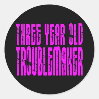 Girls Funny Birthdays  Three Year Old Troublemaker Round Sticker