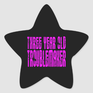 Girls Funny Birthdays  Three Year Old Troublemaker Stickers