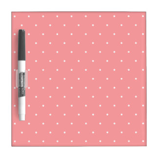 Girls Gift Coral Pink and White Dots Dry Erase Whiteboard