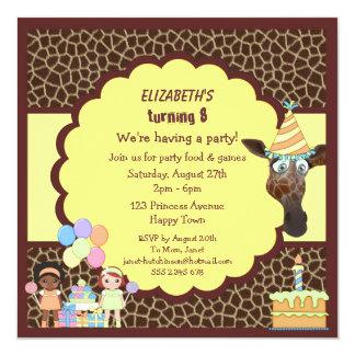 "Girls, Giraffe & Cake Animal Print Party Invites 5.25"" Square Invitation Card"
