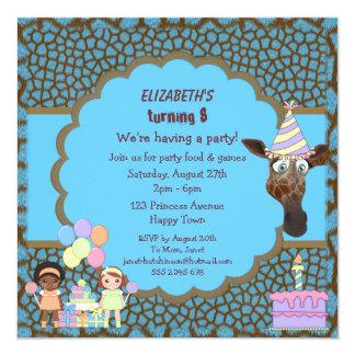 Girls, Giraffe & Cake Blue & Brown Animal Print 13 Cm X 13 Cm Square Invitation Card