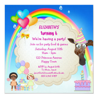 Girls, Giraffe, Rainbow & Birthday Cake Invites
