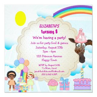 "Girls, Giraffe, Rainbow & Cake Party Invites 5.25"" Square Invitation Card"