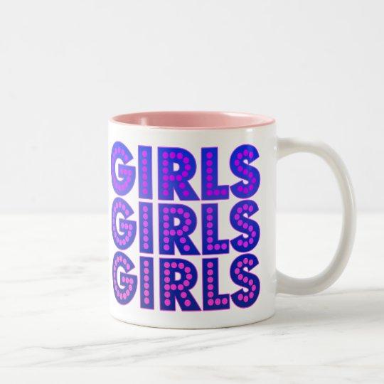 Girls Girls Girls Two-Tone Coffee Mug