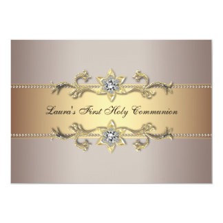 Girls Gold First Holy Communion Invitation