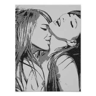 Girls gone Wild, sexy lesbians kissing BW Poster