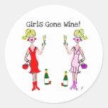 GIRLS GONE WINE! FUN WINE PRINT ROUND STICKER
