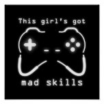 Girl's Got Mad Skills Video Game Controller