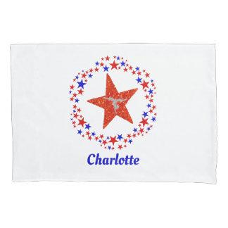Girls Gymnastics Stars Red White Blue Name Pillowcase