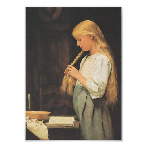 Girls' hair braiding  1887 poster