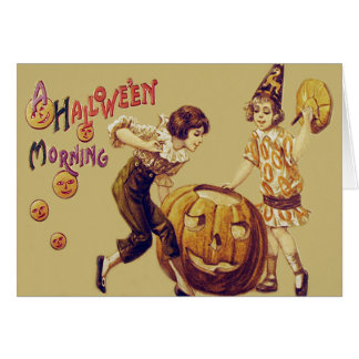 Girls Halloween Party Jack O' Lantern Pumpkin Greeting Card