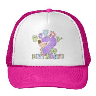Girls Happy 2nd Birthday Mesh Hats