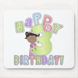 Girls Happy 3rd Birthday,African American Mouse Pad