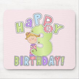 Girls Happy 3rd Birthday Mousepads