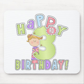 Girls Happy 3rd Birthday Mouse Pad