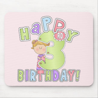 Girls Happy 3rd Birthday Mousepads