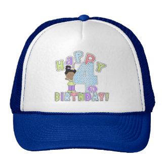 Girls Happy 4th Birthday,African American Cap