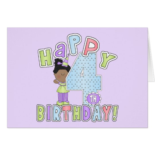 Girls Happy 4th Birthday,African  American Card