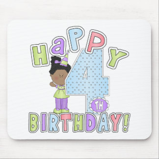 Girls Happy 4th Birthday,African American Mouse Pad
