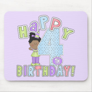 Girls Happy 4th Birthday,African  American Mousepads