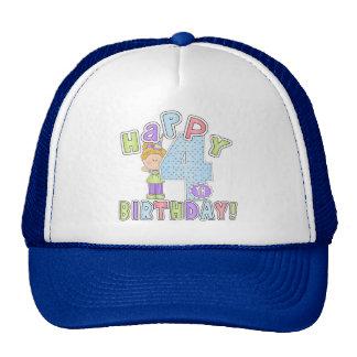 Girls Happy 4th Birthday Cap