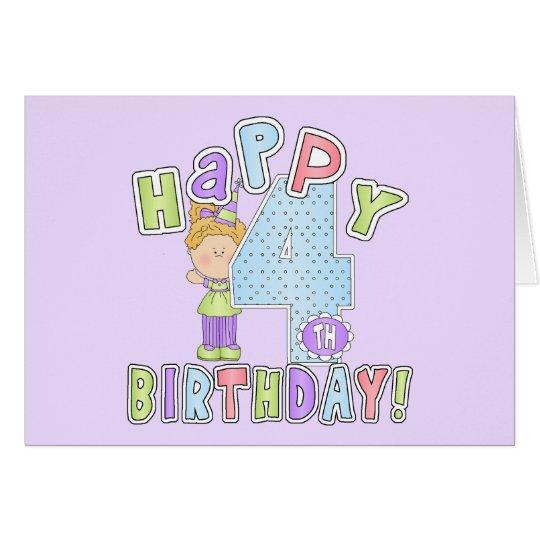 Girls Happy 4th Birthday Card