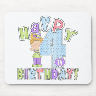 Girls Happy 4th Birthday Mousepads