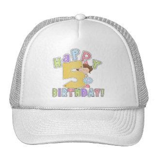 Girls Happy 5th Birthday Trucker Hat