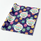 Girls Happy Birthday Blue Owl Pattern Personalised Wrapping Paper