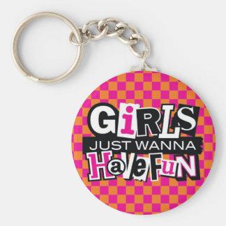Girls Have Fun Basic Round Button Key Ring