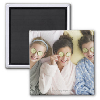 Girls having a facial square magnet