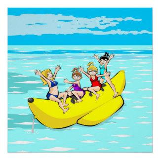 Girls having fun in a Banana Boat Poster