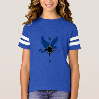 Girls Hawk and Compass T-Shirt in Blue