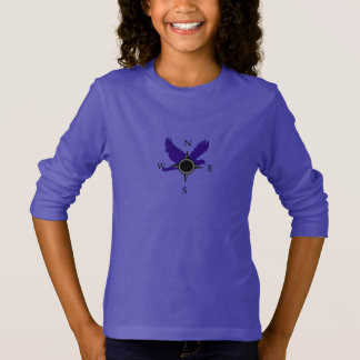 Girls Hawk and Compass T-Shirt in Purple